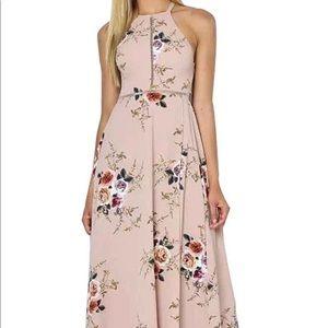 Dresses & Skirts - Halter Neck Floral Backless Split Beach Maxi Dress